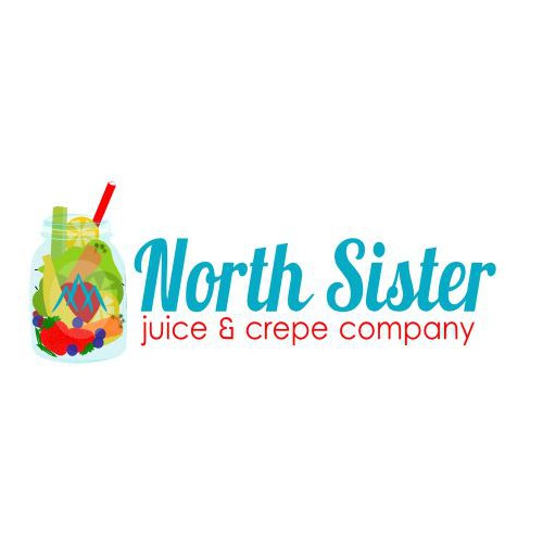 Create a blue Mason jar with veggies and or fruit in it with our logo for a juice and crepe stand in Alaska