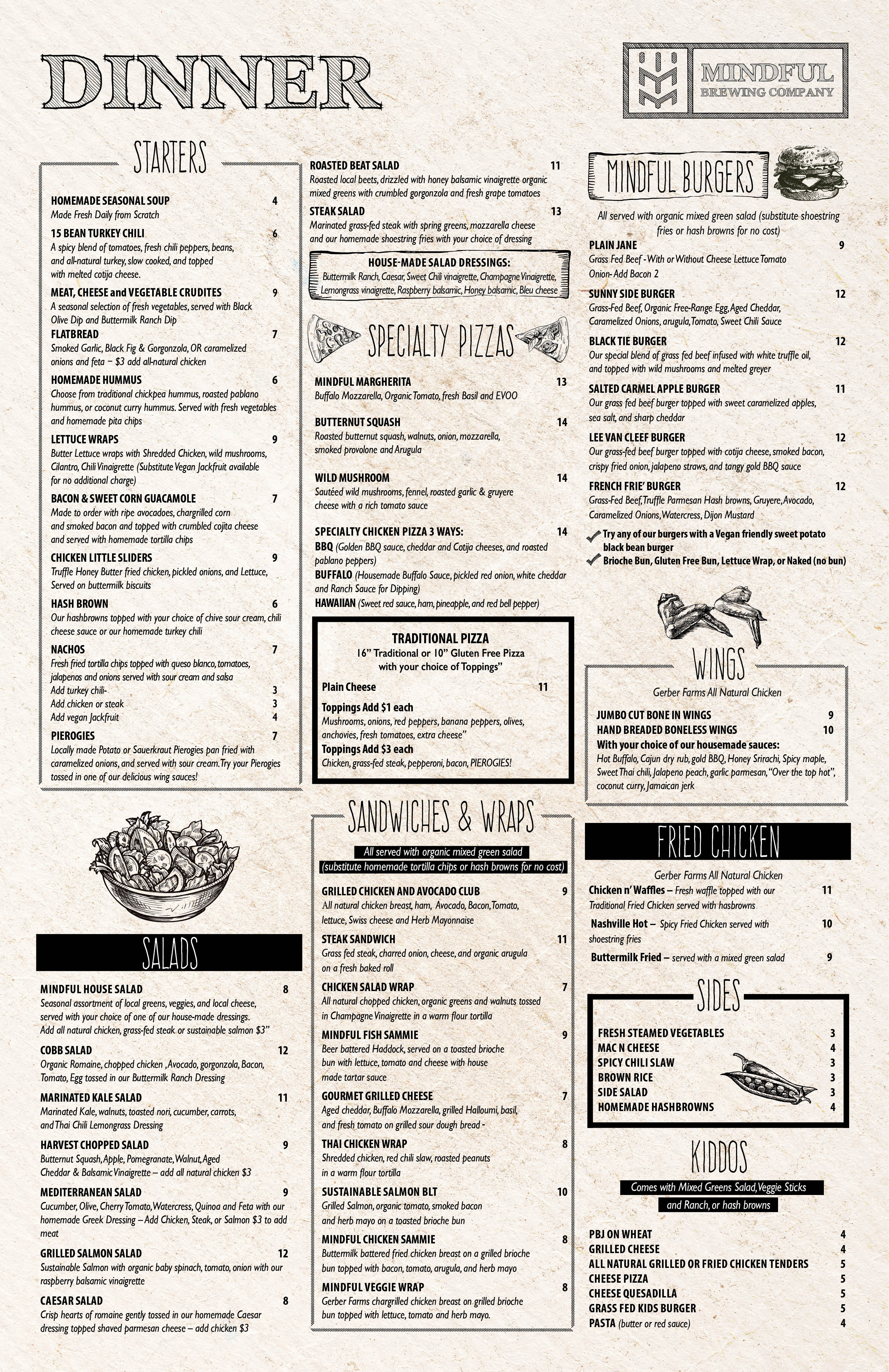 Design Menu layout for new craft brewery and restaurant