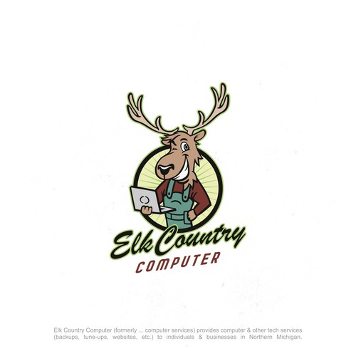 FUN & Personable Elk mascot to promote computer service business
