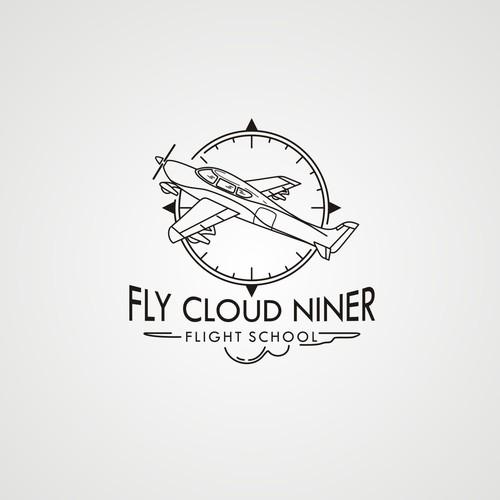 fun future retro logo flight school