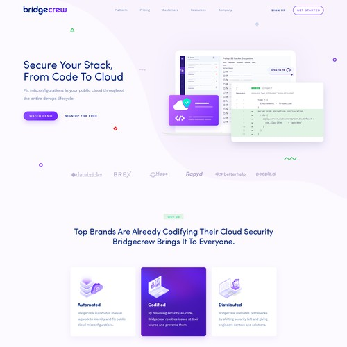 Bridgecrew website design