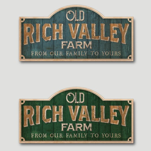 Rustic sign logo for Old Rich Valley Farm