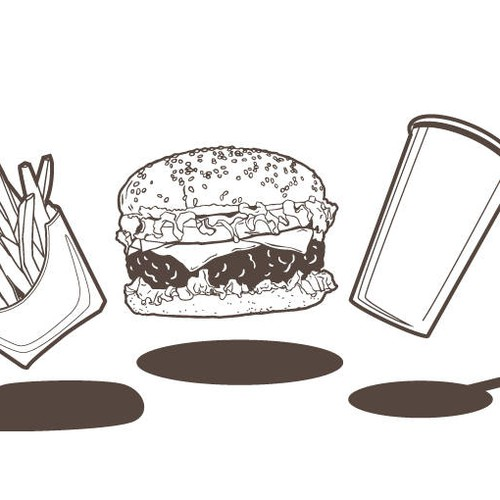 Hamburger fries and drink icon illustration black and white