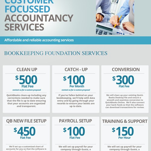 Flyer for accountancy firm