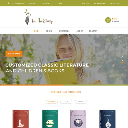 I am the Story Home Page Design