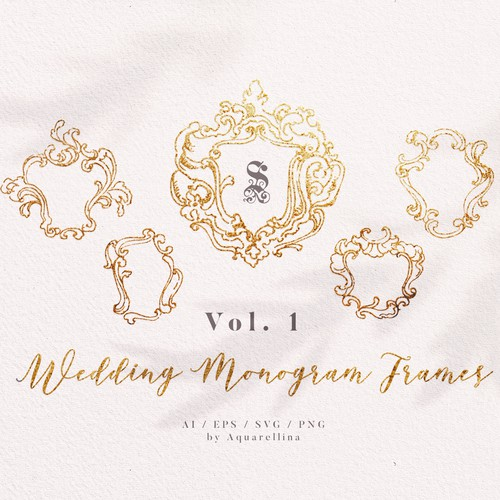 Hand drawn Wedding Monograms