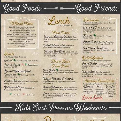 Fun & trendy menus