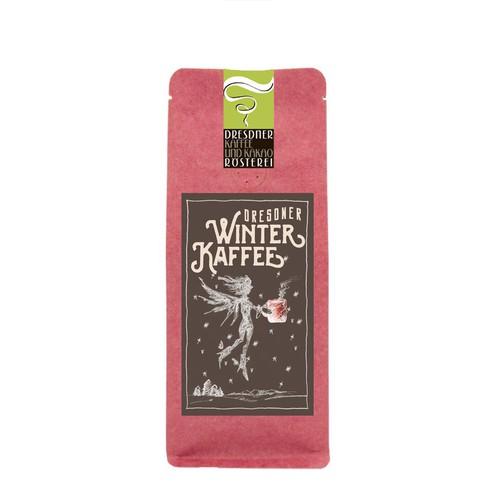 Etiketten Design für Winterkaffee