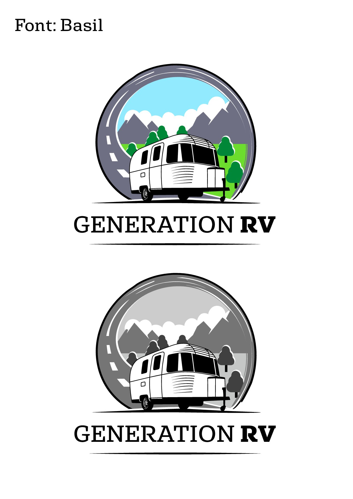 Playful and recognizable RV camper logo and icon for company