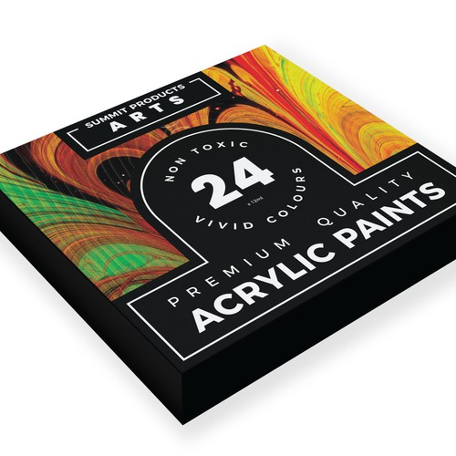 Packaging design for an acrylic paint set