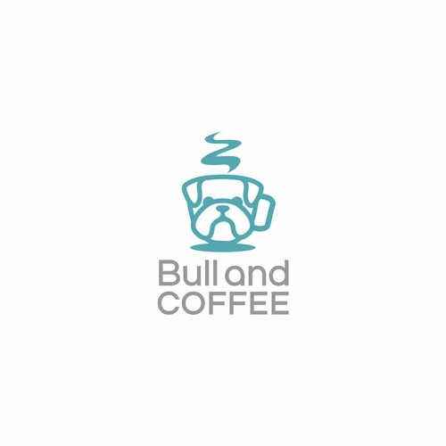 Modern style design of bulldog and coffee