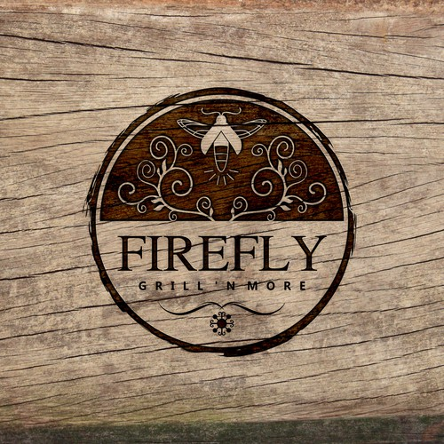 Design a simple, vintage/rustic logo for Firefly Grill 'n More
