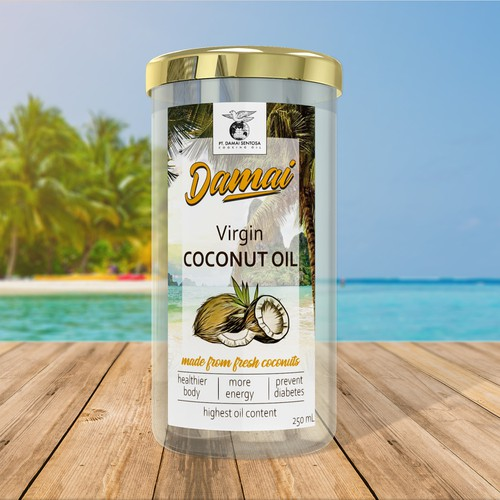 Virgin coconut oil label design