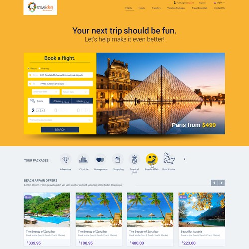 Travelden Booking Engine Website Design