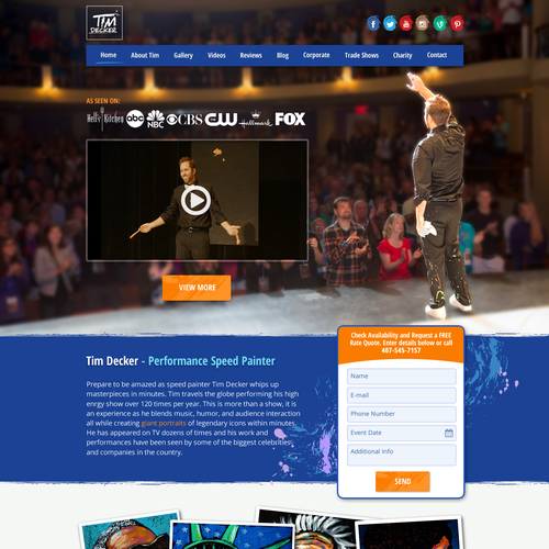 Webdesign concept for renowned entertainer