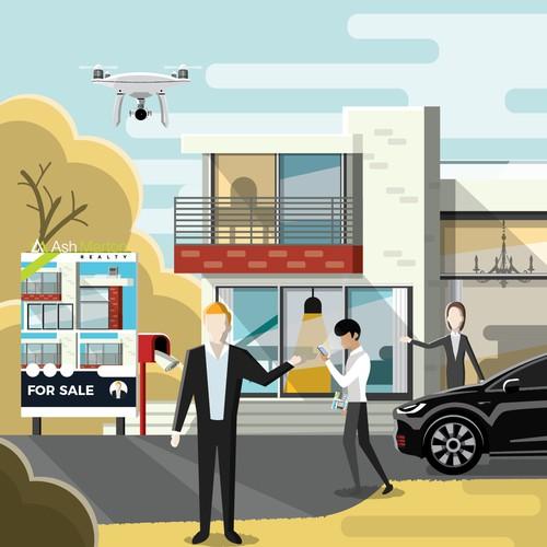 Illustration concept for Real Estate Company