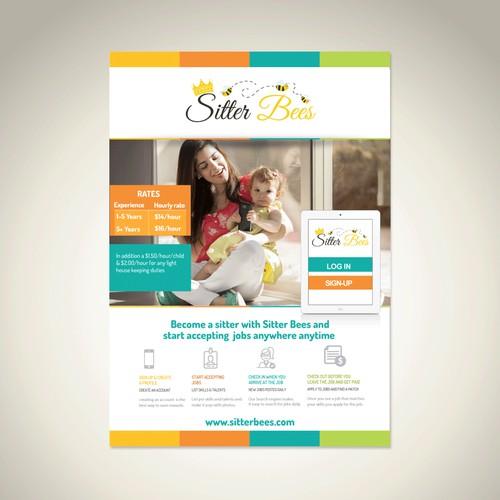 Colorful Postcard Flyer Design for Baby Sitter App