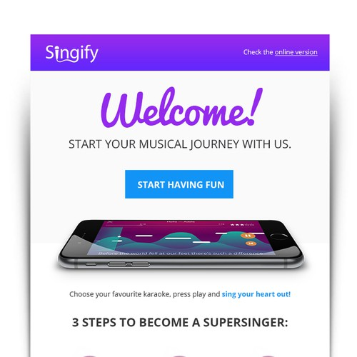 Classy on-boarding e-mail for Singify