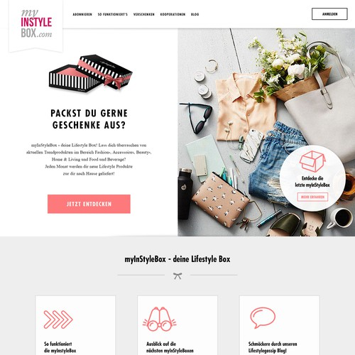 Homepage for a fashion subscription box service
