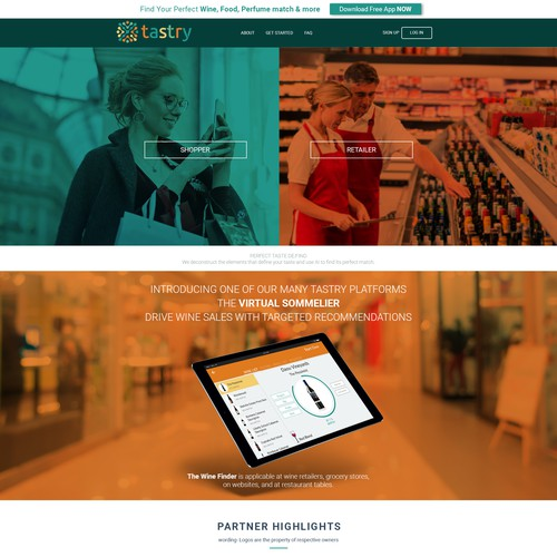 Web Page design for tastry