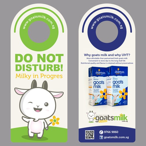 Create a cheeky postcard door knob hanger with my goat mascot.