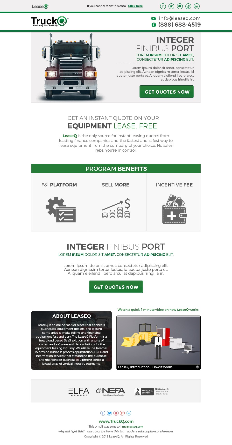 Truck Dealer Email and Landing Page