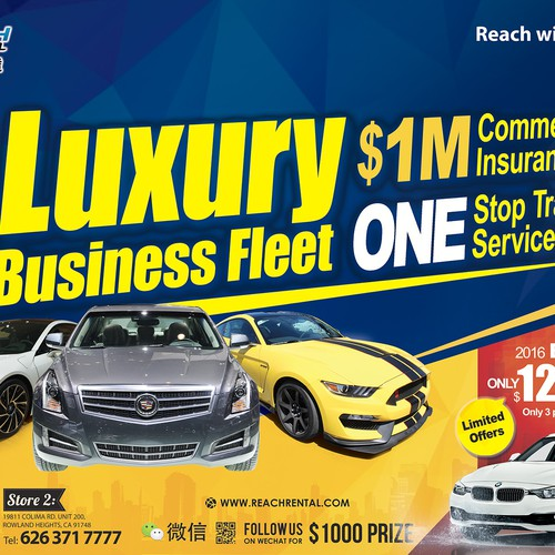 Placemat advertising design for car rental business