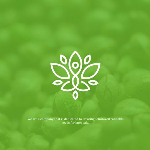 Modern line-work logo with yoga vibe for Kámala Seeds Bank