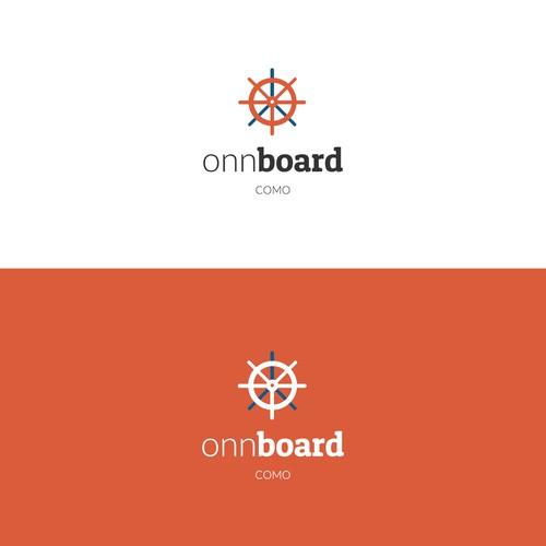 """Marchio """"Onn Board"""" creato per una barca che organizza aperitivi e cene sulle rive del lago di Como"""