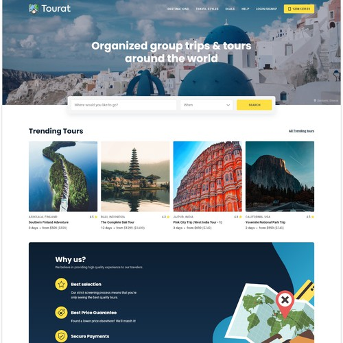 Tourat: tours and travels website