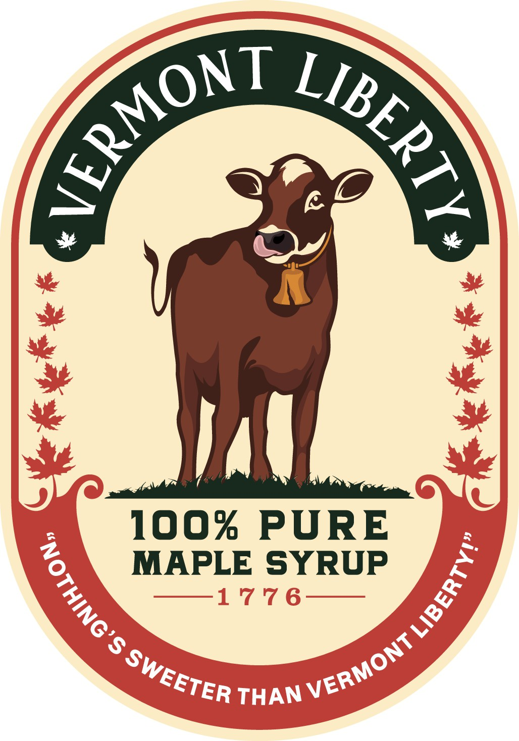 Attractive Label for Vermont Maple Syrup With Cow Wearing Liberty Bell
