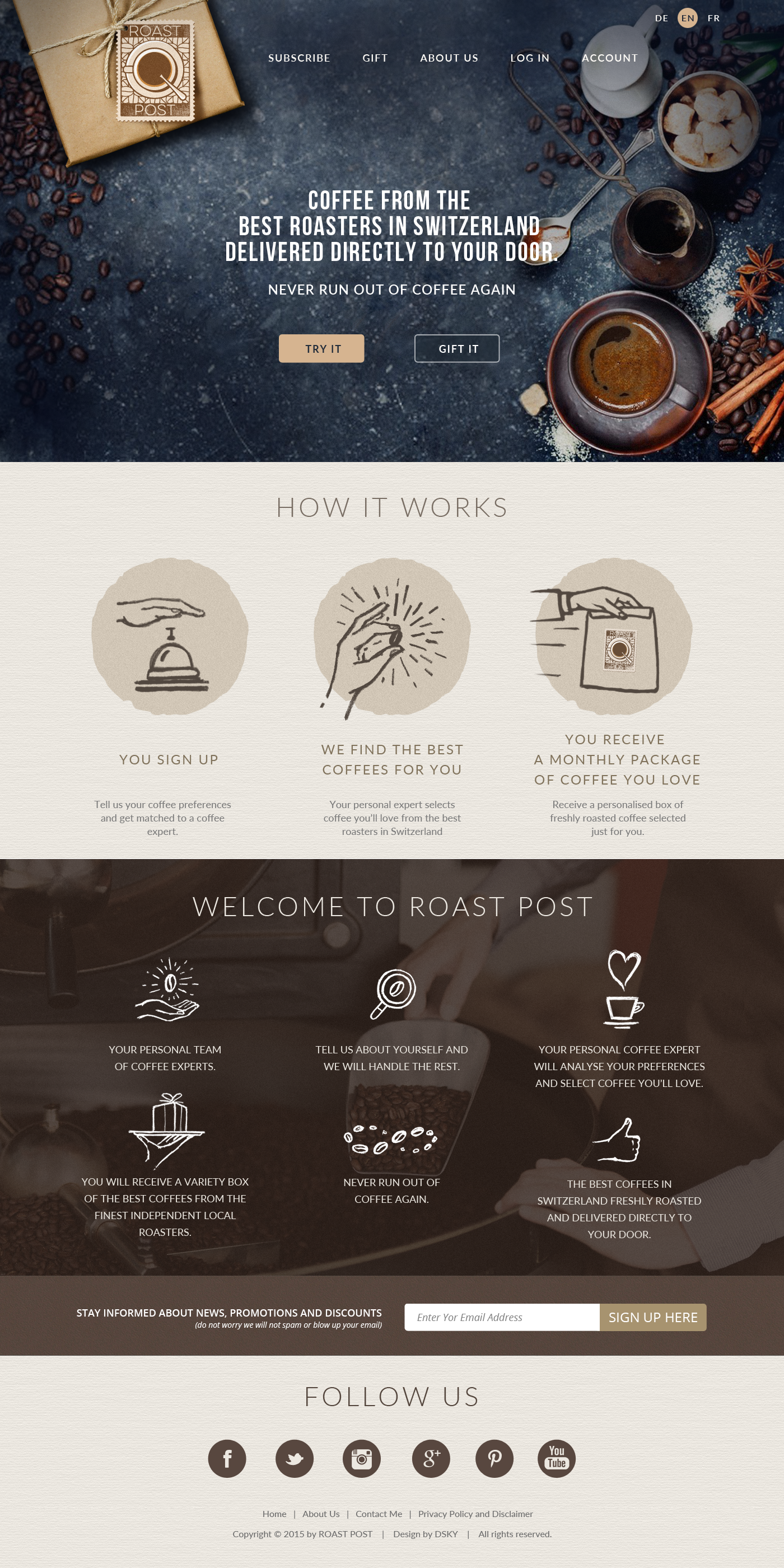 Webpage Design for coffee subscription company