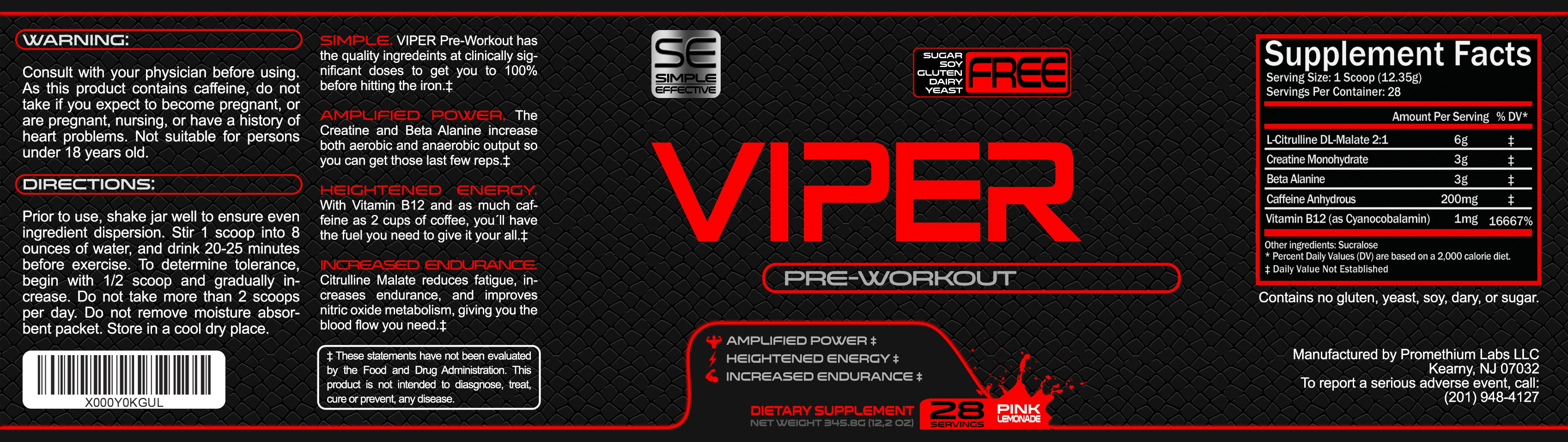 Create a simple and captivating label for Viper Pre-Workout