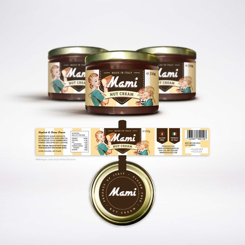 Label and Jar Seal Design for Mami Nut Cream Hazelnut Chocolate Spread