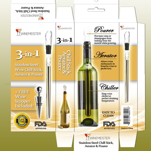 Wine Chiller, aerator and purer box design.