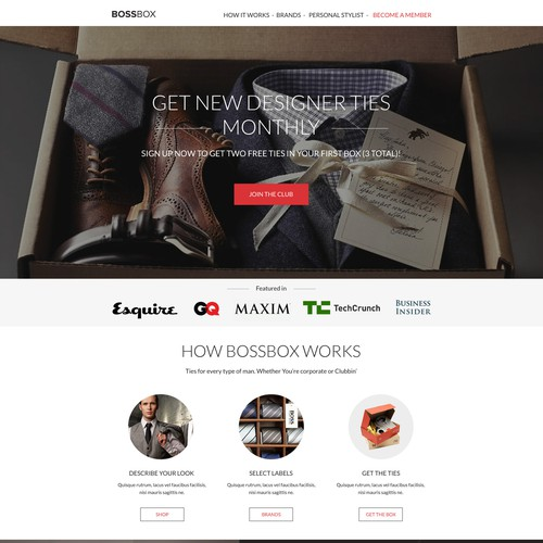 BossBox landing page design