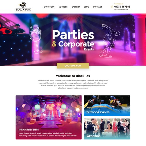 Home page design for event company