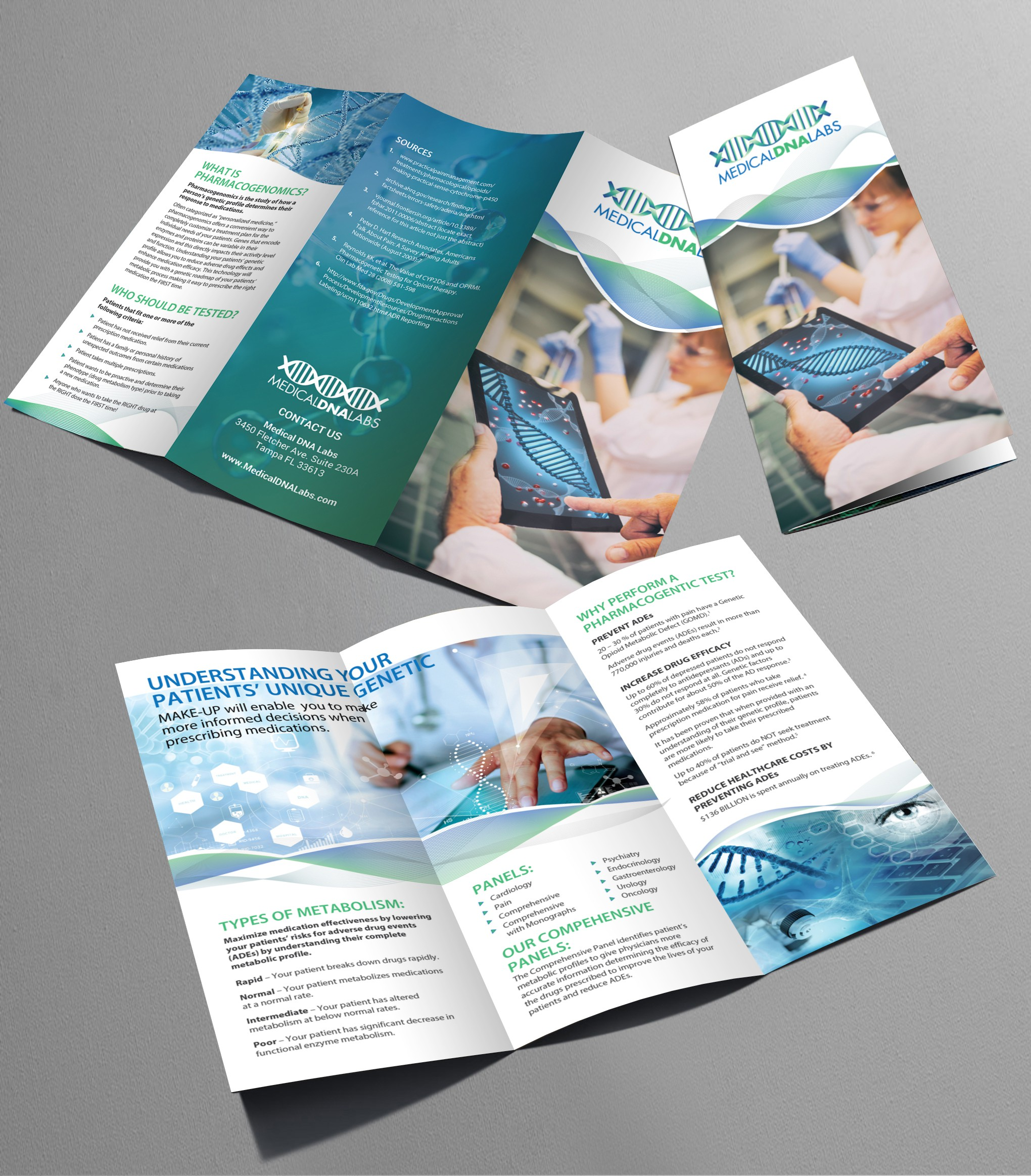 Medical DNA Labs trifold brochure redesign