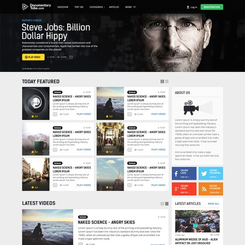 Website design for Documentary Tube