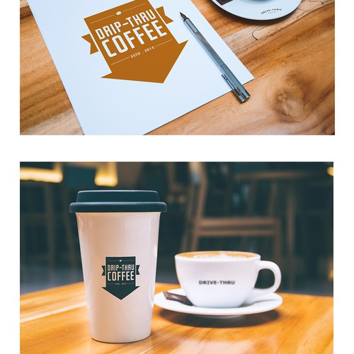 Fresh coffee business logo for double-sided drive-thru