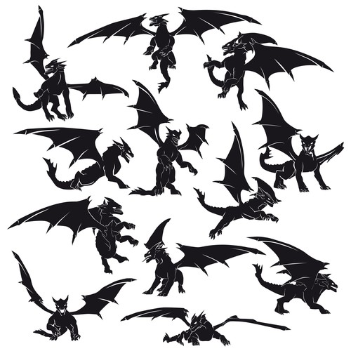 Dragon silhouettes in vector format