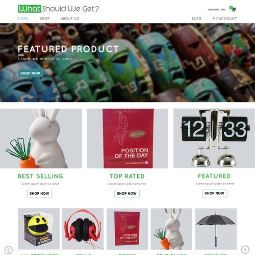 Rebranding/redesign homepage for clever gift store.