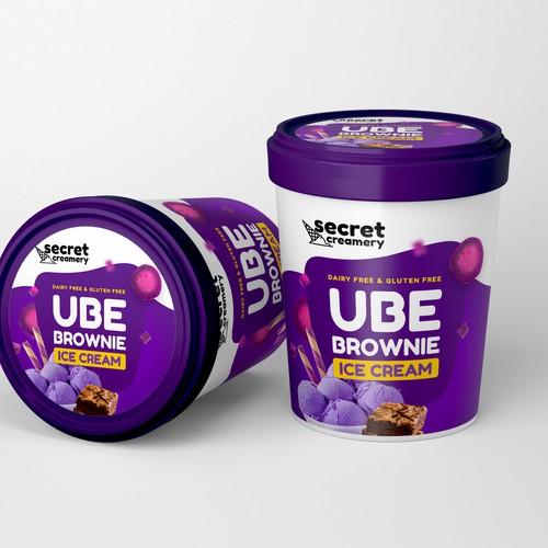Secret UBE Brownie Ice Cream