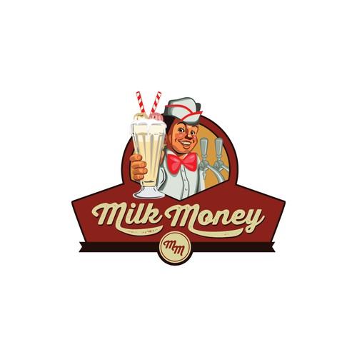 """Milk Money"" Burger Logo Design"