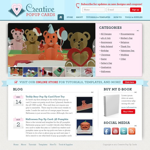 Create the next website design for CreativePopUpCards.com