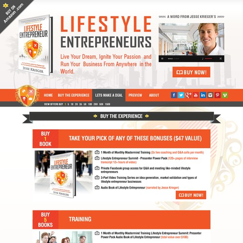 Design the Lifestyle Entrepreneur book launch landing page!