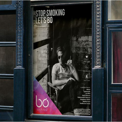 Advertising Poster for BO, an E-cigarette and Vape Product.