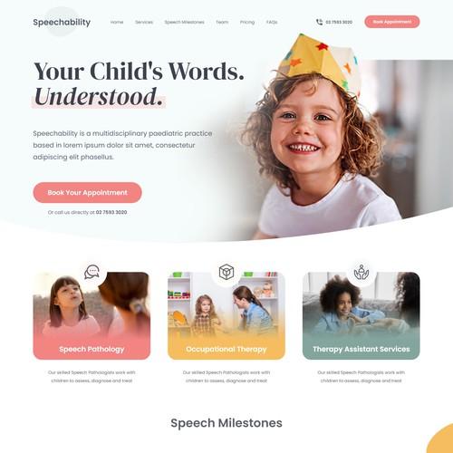 Speech Pathology Clinic Landing Page