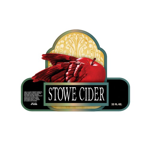 Create a hard cider label for champagne size green bottle