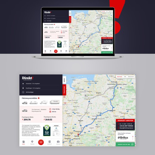 Landingpage for courier service
